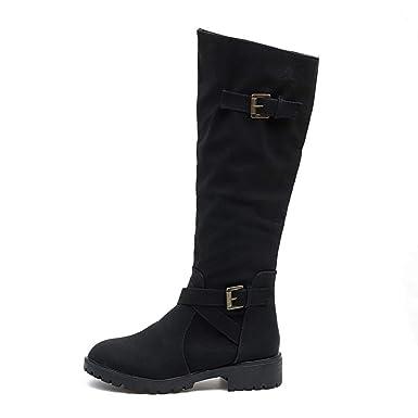 427dfa03399 Shusuen ✿‿✿ Women s Comfortable Low Heel Booties Western Riding Buckle Shoes  Punk Knee High
