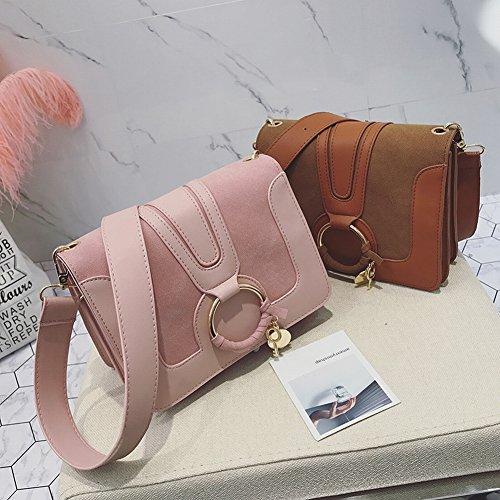 Frosted Weiblichen Stil Kleine Quadratische Tasche Breiten Schultergurt Umhängetasche Diagonal Handtasche , Rosa