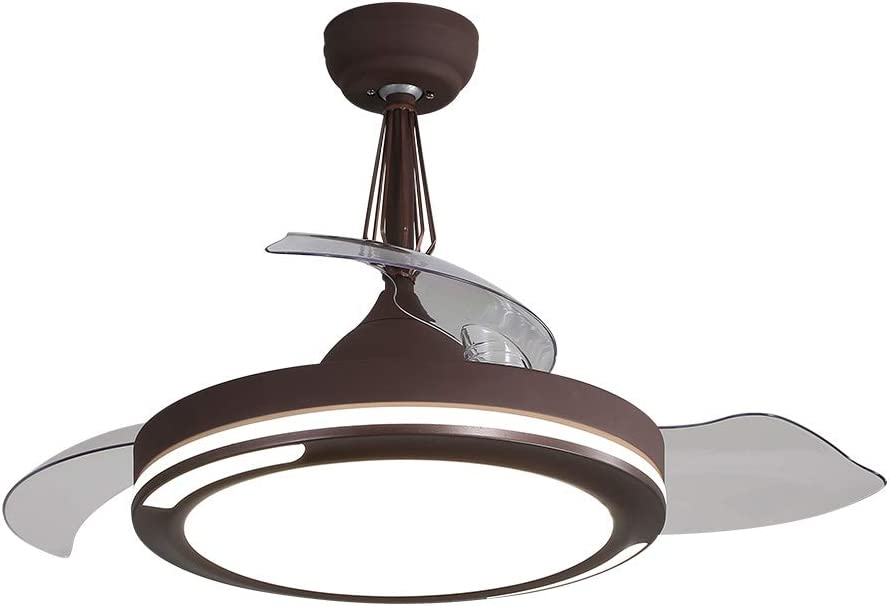 Edislive - Ventilador de techo invisible con cuchillas retráctiles y luces de 42 pulgadas, regulable, control remoto, luces de techo con ventiladores de velocidad ajustable