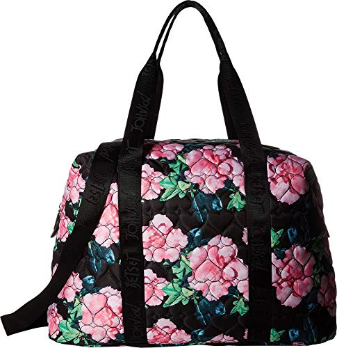 Betsey Johnson Nylon Quilted Black Floral Zip Heart Pocket C