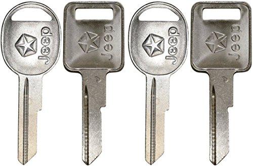 321815 X2 + 321816 X2, 4 NEW Jeep Logo OEM IGNITION + DOORS/TRUNK Key Blanks Uncut 321815 + 321816 ()