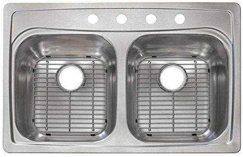 KINDRED FFG804NBGR Stainless Steel Double Bowl Top Mount/Drop-in Kitchen Sink and Faucet Kit, 33.5'' x 22.5'' x 8''