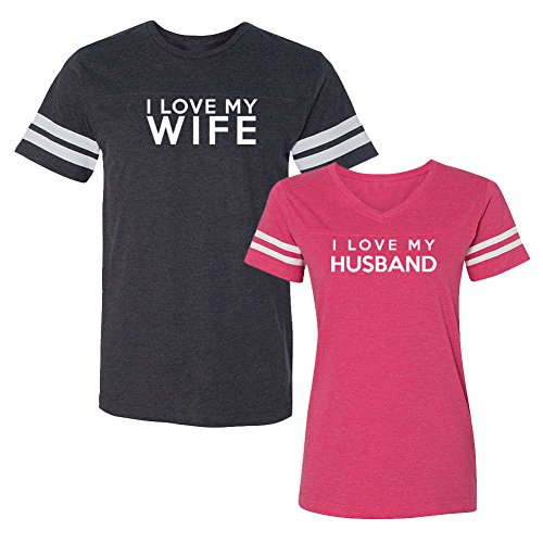 We Match! I Love My Wife I Love My Husband Matching Couples Football T-Shirt Set (Ladies Large, Mens Medium, Smoke & Pink)