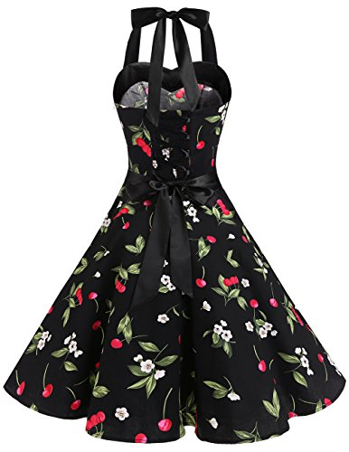 Dresstells® Halter 50s Rockabilly Polka Dots Audrey Dress Retro Cocktail Dress Black Small Cherry
