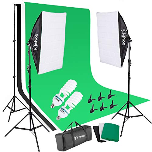 YYAO Photography Softbox Lighting Kit Studio Lights Photo Backdrop Stand Kit 3 Color (Black & White & Green) 6.6 x 10 ft Background Screen,with Carry Bag