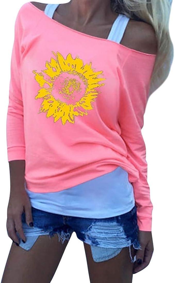 Camiseta Flores Mujer Blusa Informal de Manga Larga Camisetas de Mujer Girasol Camisa Hombros Descubiertos Elegante Sexy: Amazon.es: Ropa y accesorios