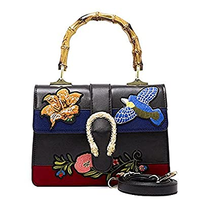 Vicue Women's Bamboo Handbag Retro Embroidery Bags PU Leather Shoulder Handbags