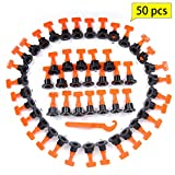 50pcs Tiles Leveler Spacers, LAMPTOP Tile Leveling System with Special Wrench, Reusable Spacer Flooring Level Tile levellers Set System Construction for Builing Walls & Floors
