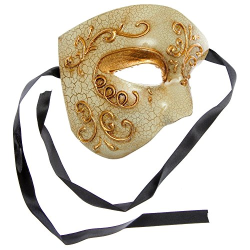 Phantom of Opera Design Venetian Masquerade Party Mask - Gold by L.M.K
