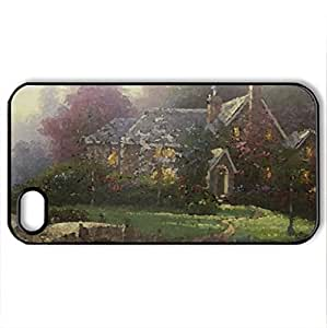 Forest Beauty - Case Cover for iPhone 4 and 4s (Houses Series, Watercolor style, Black)