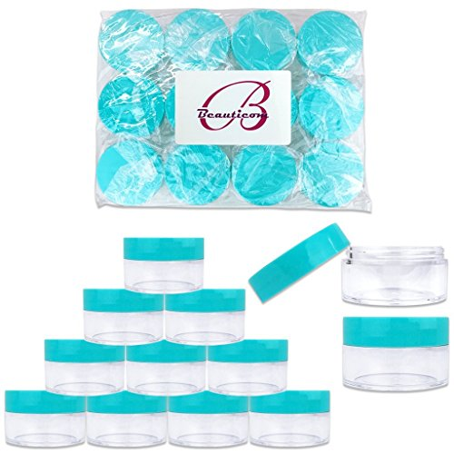 Beauticom 20 gram/20ml Empty Clear Small Round Travel Container Jar Pots with Lids for Make Up Powder, Eyeshadow Pigments, Lotion, Creams, Lip Balm, Lip Gloss, Samples (12 Pieces, - Cream Blue Powder