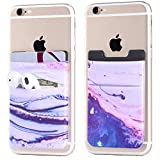 2Pack Phone Card Holder Stretchy Lycra Stick on Wallet Pocket Credit Card ID Case Pouch Sleeve 3M Adhesive Sticker for Back of iPhone Samsung Galaxy Android Smartphone-Sand Marble Purple Double Pocket