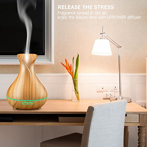 URPOWER Essential Oil Diffuser, 400ml Wood Grain Cool Mist Humidifiers Ultrasonic Aromatherapy Diffusers with 4 Timer Setting and High or Low Mist Output for Home Bedroom Baby Room Study Yoga Office