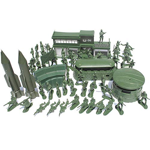 56PCS 5CM Soldiers Kit Figures Accessories Model For Kids Children Christmas Gift Toys - Model & Building Toys Diecasts & Model Toys - 50X 5CM soldiers, 2 x Rocket, 1x Barracks, 1X Long bunkers