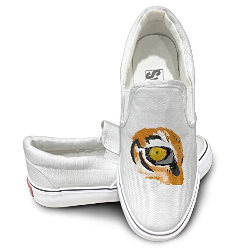 [CAPA Unisex Oxford Shoes Tiger Eye Design Flat Canvas Sneaker 36 White] (Leo Johnson Costume)