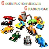 Pull Back Vehicles,12 Pack Assorted Construction Vehicles and Raced Car Toy,Yeonha Toys Vehicles Truck Mini Car Toy For Kids Toddlers Boys,Pull Back And Go Car Toy Play Set