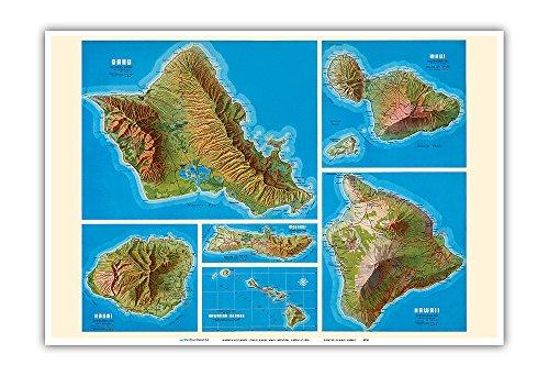 Hawaiian Islands - Oahu, Kauai, Maui, Molokai, Hawaii - Shell Oil Company - Vintage Map c.1956 - Master Art Print - 13in x 19in