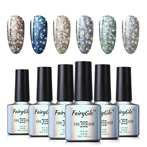 - UV LED Nail Polish 6pcs Soak Off Starry Gel Nail Art Starter Kit Shimmer Manicure Lacquer Varnish Gift Set FairyGlo 10ml 010