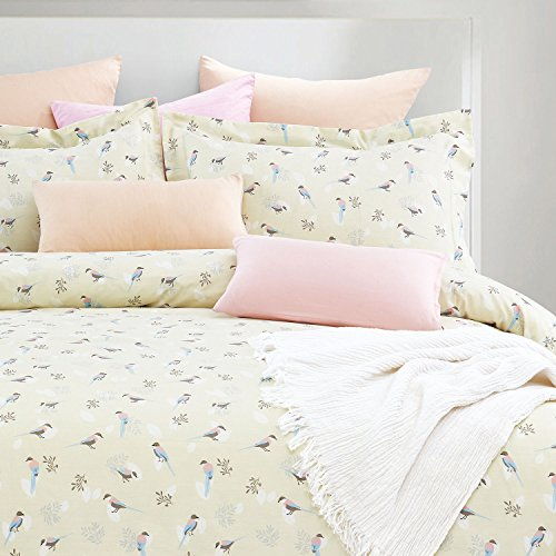 Wake In Cloud - Birds Duvet Cover Set, 100% Cotton Bedding, Bird Pattern Printed on Ivory Cream Light Yellow, with Zipper Closure (3pcs, Queen Size)