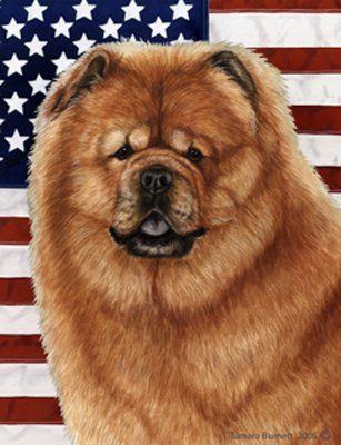 Chow Chow Red - Best of Breed Patriotic II Garden Flags (Chow Garden Flag)