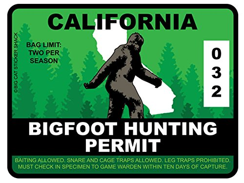 Bigfoot Hunting Permit - CALIFORNIA (Bumper Sticker)