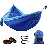 Camping Hammock, Double Parachute Nylon Hammocks, Lightweight Portable Backpacking Hammock with Heavy Duty Tree Straps and Carabiners for Indoor, Outdoor, Hiking, Travel, Backyard, Beach, by GOFORWILD