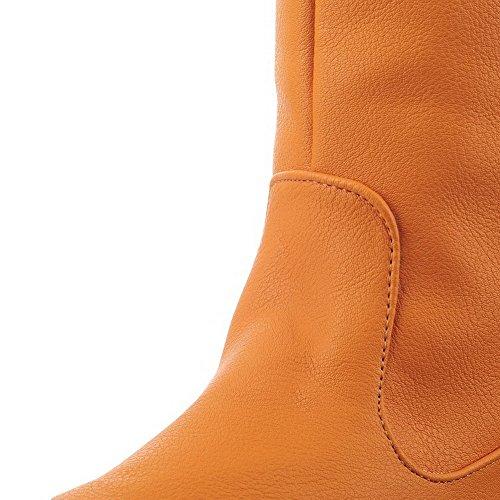 Sin Puntera Sólido Botas Amarillo Tacón Alto Mujeres AllhqFashion Redonda cordones B16qR1P
