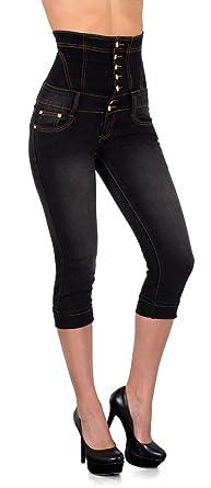 17bab43f101d by-tex Damen Jeans High Waist Capri Hose Skinny Damen kurze Jeans Hose  Hochbund Capri