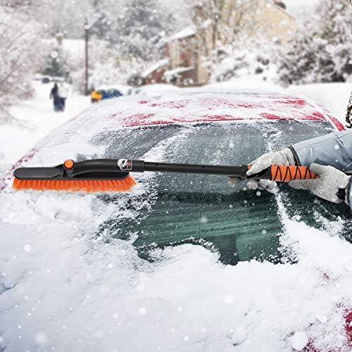 MATCC/Cepillo de Nieve Cepillo para Nieve con Rasqueta de Hielo 270/° Cabezal de Cepillo Giratorio 2 en 1 Barrer Nieve y Palear Nieve para Coche