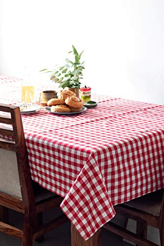 Table cloth, Made with 100% Pure Cotton, Gingham Checks, Red and White of Size 59 X 59 Inches, Square Tablecloth For Dinner Parties, Summer & Outdoor Picnics