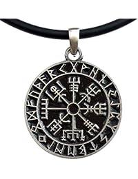 Vegvísir wayfinder Guidepost Compass Talisman Viking Protection Pewter Pendant
