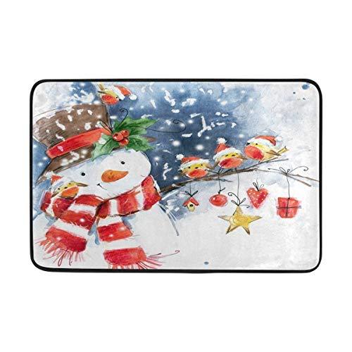 Watercolor Snowman - Entrance Doormat Merry Christmas Watercolor Snowman Cute Bird Snow Snowflake Winter Holiday Indoor Outdoor Door Mat Non-Slip Doormat 23.6 by 15.7 Inch Machine Washable Polyester Fabric