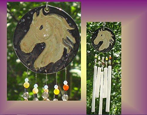 mini-golden-cream-horse-pony-equestrian-ceramic-fused-glass-windchime-patio-garden-barn-decor-wind-c