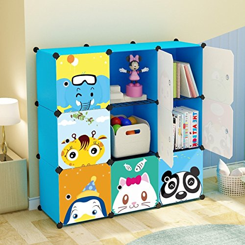 KOUSI Portable Kids Bookshelf Children Toy Organizer Multifuncation Cube Storage Shelf Cabinet Bookcase, Capacious & Study, Blue:9 Cubes by KOUSI