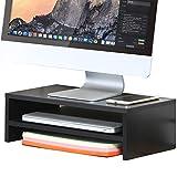 FITUEYES 2 Capas Elevador del Monitor Negro Soporte de Monitor Computer Monitor Riser TV Stand