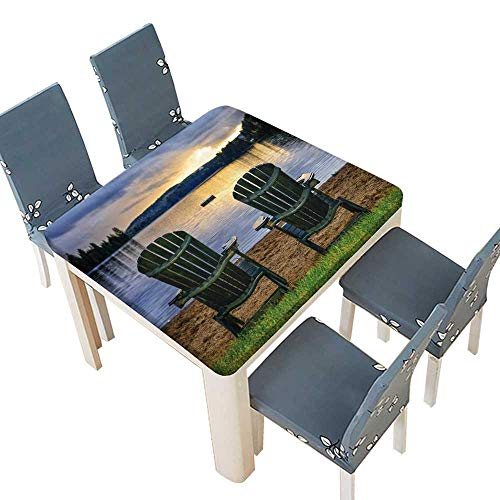 PINAFORE Tablecloth Waterproof Polyester Table Adirondack Chair Watching Sun Over The River Suitable Home use 69 x 69 INCH (Elastic Edge) ()