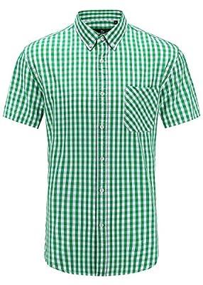 Emiqude Men's Slim Fit 100% Cotton Stylish Short Sleeve Plaid Dress Shirt
