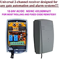 Universal 2-channel Rolling / Fixed code 12 - 24 VAC/DC receiver. N/O - N/C, 433,92Mhz