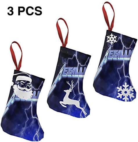 クリスマスの日の靴下 (ソックス3個)クリスマスデコレーションソックス 音楽Metallica クリスマス、ハロウィン 家庭用、ショッピングモール用、お祝いの雰囲気を加える 人気を高める、販売、プロモーション、年次式