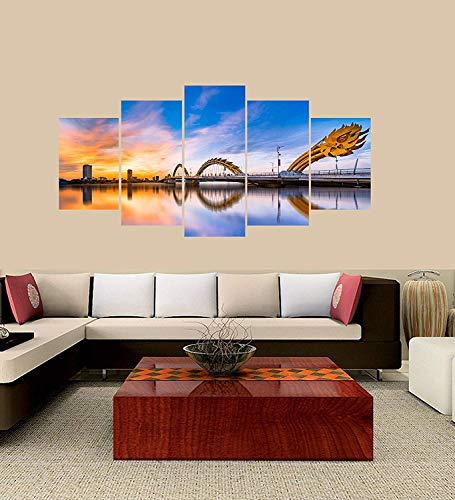XINGAKA Premium Quality XINGAKAed Wall 5 Pieces / 5 Pannel Wall Decor Da Nang City Vietnam Painting, Home Decor Pictures - with Wooden Frame