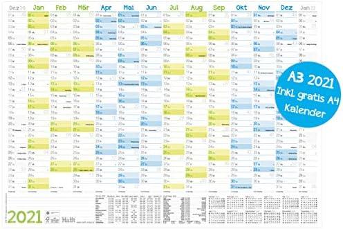Wandkalender 2021 A3 (42 x 30 cm) für 14 Monate Dez 2020 - Jan 2022 | Wandplaner mit Ferien- und Feiertage-Übersicht, FSC®-Papier, gefalzt + extra A4-Kalender!