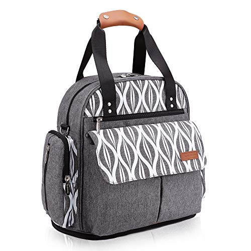 (Lekebaby Expandable Diaper Bag Backpack Tote Messenger Bag for Mom and Girl in Grey)