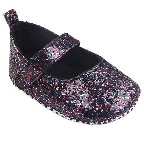 Soft Sole Baby Crib Shoes (Coper Infant Baby Girls Soft Sequins Sneaker Sole Crib Shoes Prewalker (Black, 12~18 Month))