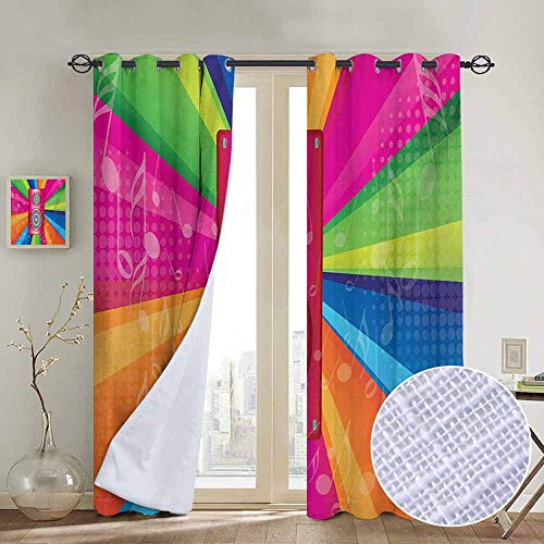 NUOMANAN Window Curtain Fabric Vintage Rainbow,Discotheque Pop Party of The 60s 70s Theme Musical Notes and Pink Stereo,Multicolor,Rod Pocket Curtain Panels for Bedroom & Living Room 120