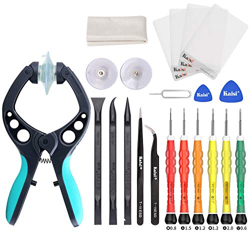(Kaisi Electronics Screen Opening Toolkit Cellphone iSlack Suction Cup Pliers Opening Repair Kit Compatible for iPhone, Samsung Galaxy, Cell Phone, iPad, iPod, iMac, and More LCD Screen Opener - 16Pcs)