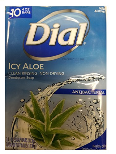Dial Deodorant Bar Soaps - Dial Deodorant Soap, Icy Aloe, 4 Ounce, 10 Bars