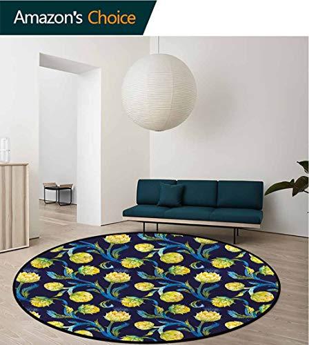 (RUGSMAT Artichoke Modern Machine Round Bath Mat,Art Nouveau Food Carpet Door Pad for Bedroom/Living Room/Balcony/Kitchen Mat Round-63)