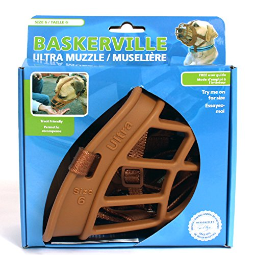 Image of Baskerville Ultra Basket Dog Muzzle – The Company of Animals - Adjustable and Comfortable Secure Fit - Durable Lightweight Rubber - Stops Biting, safe retraining of aggressive dogs- Size-6 Tan