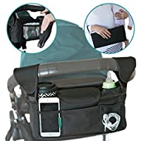 Stroller Caddy Organizer With Portable Changing Pad and Stroller Hooks Included; Single Stroller Handlebar Console Suits Britax and BOB Strollers - Increase Your Stroller Storage