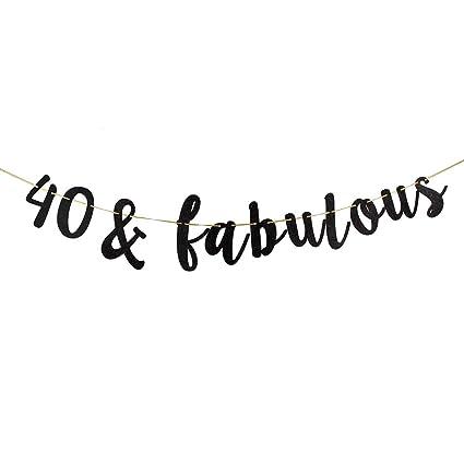 Amazon 40 Fabulous Banner Black Glitter 40th Birthday Party